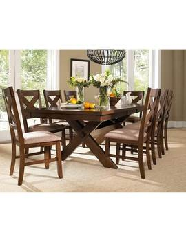 9 Piece Solid Wood Dining Set With Table And 8 Chairs by Generic