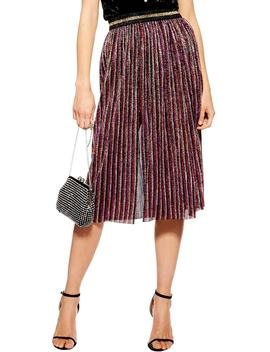 Metallic Plissé Midi Skirt by Topshop