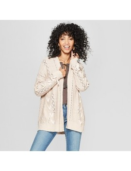 Women's Lace Up Long Sleeve Open Cardigan   Knox Rose™ Natural by Knox Rose