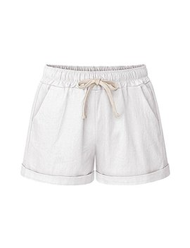 Women's Drawstring Elastic Waist Casual Comfy Cotton Linen Beach Shorts by Sobrisah