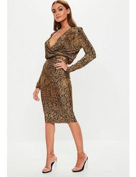Brown Animal Print Plisse Midi Skirt by Missguided