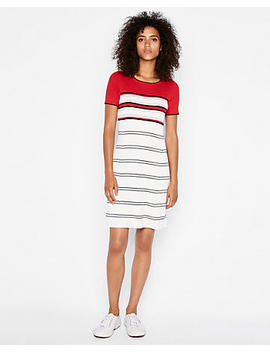 Ribbed Crew Neck A Line Sweater Dress by Express