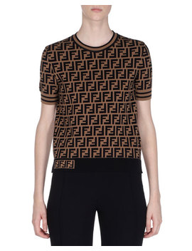 Crewneck Short Sleeve Ff Logo T Shirt by Fendi