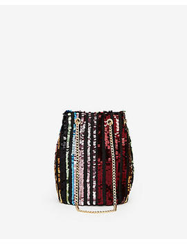 Striped Sequin Chain Handle Bucket Bag by Express
