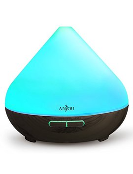Essential Oil Diffuser Anjou 300m L Aromatherapy Diffusers Ultrasonic Aroma Humidifier (Up To 8 H Use, Mist Control, Waterless Auto Shut Off, 4 Timer Settings, 7 Color Led Lights) (Dark Grain) by Anjou