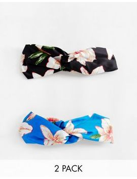 Asos Design Pack Of 2 Twist Front Headbands In Mixed Florals by Asos Design