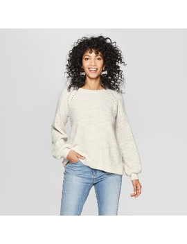 Women's Long Sleeve Back Detail Chenille Pullover   Knox Rose™ Ivory by Knox Rose