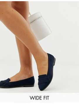 New Look Wide Fit Suedette Fringe Loafer In Navy by New Look