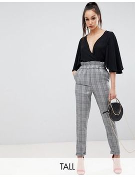 Missguided Tall Paper Bag Waist Pants In Gray Check by Missguided Tall