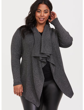 Grey Ribbed Shawl Drape Front Cardigan by Torrid