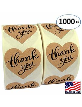 """1.5"""" Heart Shape Kraft Paper Thank You Adhesive Label, 1000 Stickers Per Roll, Love Shape, 1 1/2 Inch by Garage Sale Pup"""