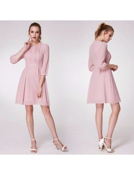 Alisa Pan Women's Elegant Long Sleeve A Line Fashion Casual Dress Pink Work Dresses For Women 05965 by Ever Pretty