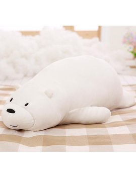 50cm Cartoon We Bare Bears Lying Bear Stuffed Grizzly Gray White Bear Panda Plush Toys For Children Kawaii Dolls For Kids Gifts by Miaoowa