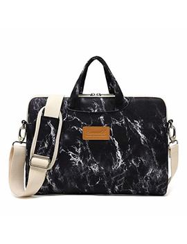 Canvaslife Black Marble Pattern 15 Inch Waterproof Laptop Shoulder Messenger Bag Case With Rebound Bubble Protection For 14 Inch 15.6 Inch Laptop 15 Case Bag by Canvaslife
