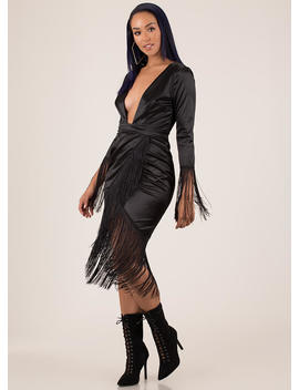 Wrapped In Fringe Plunging Satin Dress by Go Jane