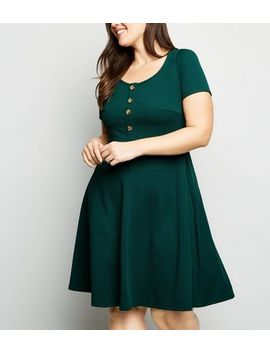 Curves Dark Green Textured Skater Dress by New Look