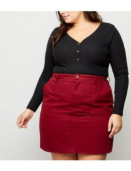 Curves Burgundy Denim Utility Skirt by New Look