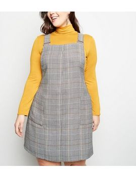 Curves Black Check Pinafore Dress by New Look