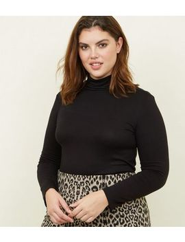 Curves Black Long Sleeve Roll Neck Top by New Look