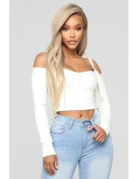 Today's Mood Cold Shoulder Top   Ivory by Fashion Nova