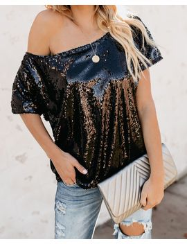 One Step Ahead Sequin Top   Black by Vici