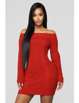 No More Rules Sweater Dress   Rust by Fashion Nova