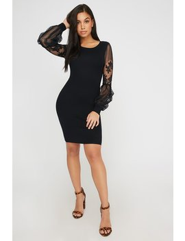 Lace Long Sleeve Bodycon Sweater Dress by Urban Planet