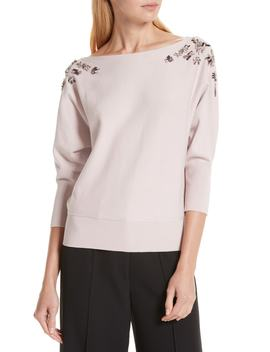 Faux Gem Embellished Sweater by Milly