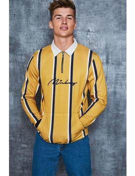 Disney Mickey Signature Stripe Rugby Top by Boohoo Man