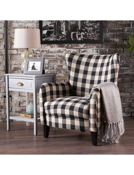 Noble House Plaid Fabric Club Accent Chair, Black, White by Noble House