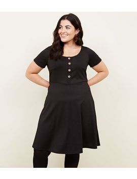 Curves Black Textured Skater Dress by New Look
