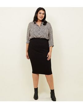 Curves Black Textured Jersey Pencil Midi Skirt by New Look