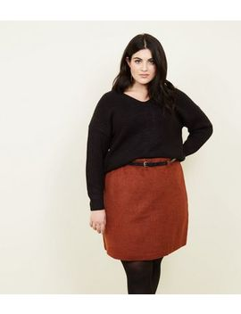 Curves Rust Brushed Belted Skirt by New Look