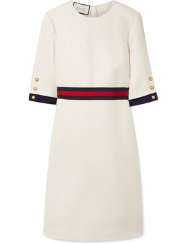 Grosgrain Trimmed Wool And Silk Blend Cady Dress by Gucci
