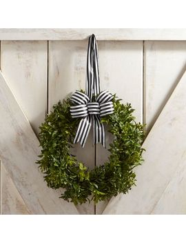 """Faux Boxwood Mini 10"""" Wreath With Ribbon by Pier1 Imports"""