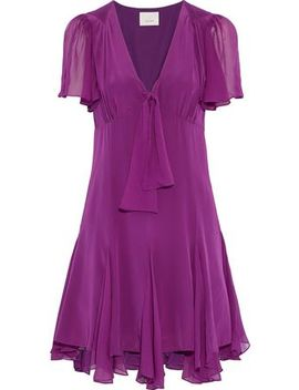 Annali Knotted Silk Crepe De Chine Mini Dress by Cinq À Sept
