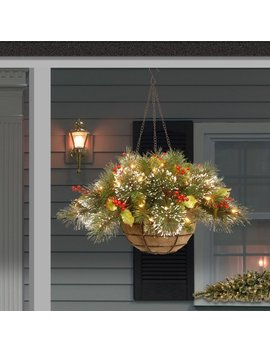 Three Posts Pine Pre Lit Round Hanging Basket & Reviews by Three Posts