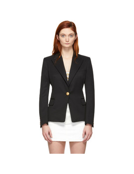 Black Wool Single Breasted Blazer by Balmain