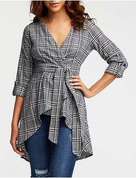 Plaid Wrap Hi Low Top by Charlotte Russe