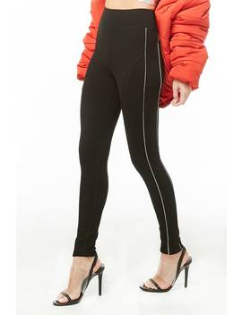 Reflective Piped Trim Leggings by Forever 21