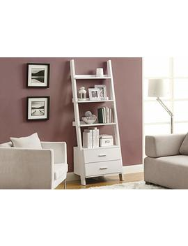 Monarch Specialties Bookcase Ladder With 2 Storage Drawers, 69 Inch, White by Amazon