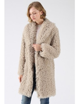 Feeling Of Warmth Faux Fur Longline Coat In Sand by Chicwish