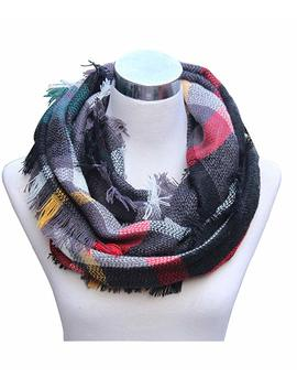 Lucky Leaf Women Winter Checked Pattern Cashmere Feel Warm Plaid Infinity Scarf by Lucky Leaf