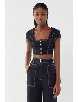 Uo Joey Utility Snap Button Front Cropped Top by Urban Outfitters