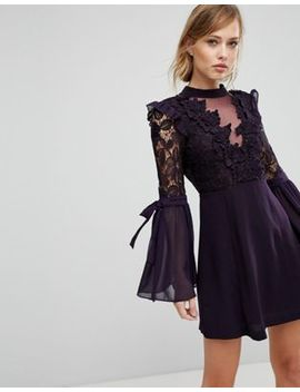 True Decadence Premium Lace Mini Dress With Bow Sleeve Detail by True Decadence