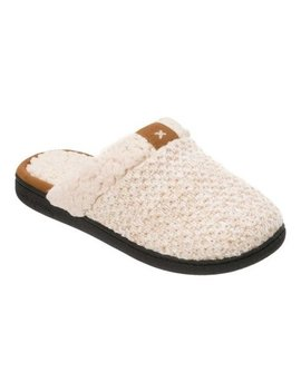 Dearfoams Women's Textured Knit Closed Toe Scuff Slippers by Dearfoams
