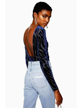 Glitter Zebra Bodysuit by Topshop
