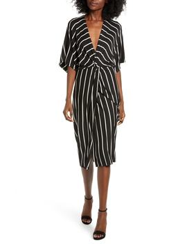 Knot Front Stripe Kimono Dress by All In Favor