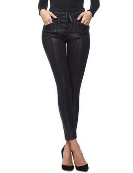 Coated Lace Up High Waist Skinny Jeans by Good American