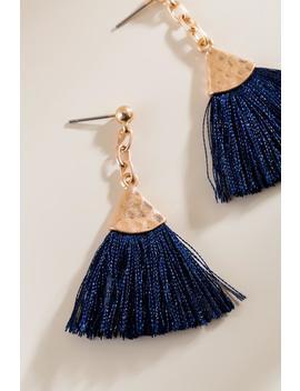 Amelia Tassel Earrings In Navy by Francesca's